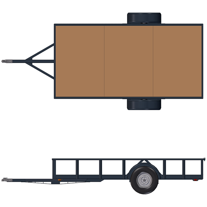 Orthogonal View of the 6x12 Utility Trailer from Plans