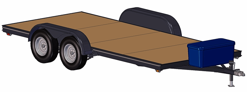 CAD Image Showing Tandem Axle Trailer Plans