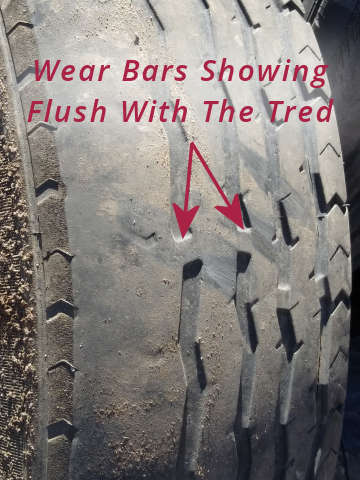 Wear Bars Showing - Replace Trailer Tires